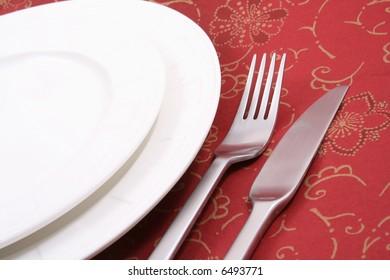 Christmas table setting - ready for Christmas dinner