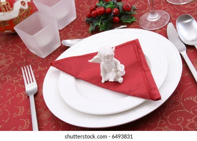 Christmas table setting - ready for Christmas dinner