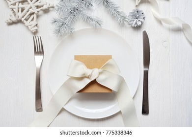 Christmas table setting with a vintage gift on white wooden table. Christmas card template with  sc 1 st  Shutterstock & Restaurant Gift Card Images Stock Photos \u0026 Vectors | Shutterstock