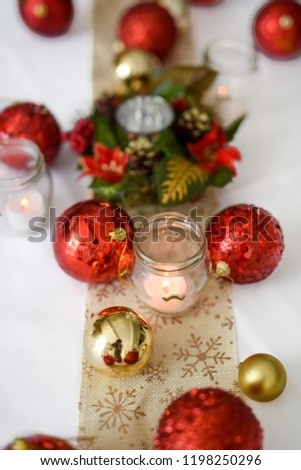 Christmas Table Setting White Tablecloth Centrepiece Stock Photo