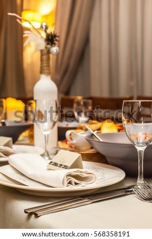 Christmas Table Setup Stock Photo (Royalty Free) 568358191 - Shutterstock & Christmas Table Setup Stock Photo (Royalty Free) 568358191 ...