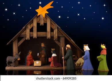 The christmas tale with a nativity scene.