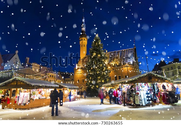 Christmas in Tallinn. Town Hall Square with Christmas Fair