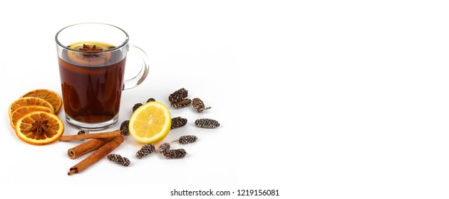 christmas tea or mulled wine - christmas background panorama banner - with space for free use of your header text