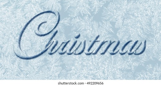 Christmas text on  frozen background   to greeting card