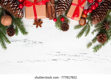 Christmas theme background with decorating elements and ornament rustic on white wood table. Creative Flat layout and top view composition with border and copy space design.