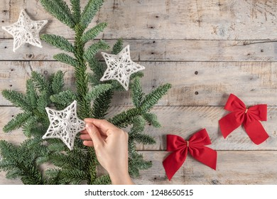 Christmas theme background in vintage tone. Rustic wood background for Christmas with copy space for all Christmas design. Old wood texture decorated with Christmas decoration theme for wallpaper and