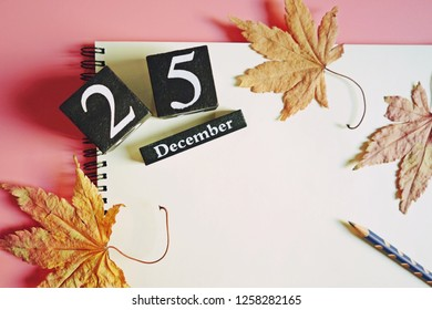 Christmas theme black painted wooden dice with the number 25 and December on white blank notebook paper with a pencil, dried and withered maple leaves over pink background. (top view, space for text)