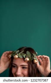 christmas theme flower crown with copper baubles head wreath diy crafting festive seasonal