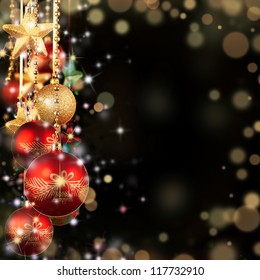 Christmas theme with red glass balls and free space for text - Shutterstock ID 117732910