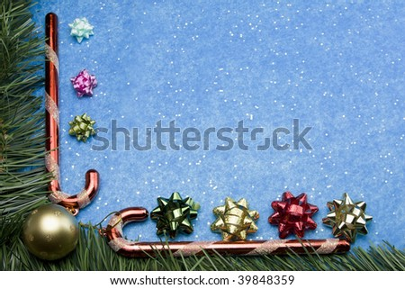 christmas themed background candy canes garland stock photo edit