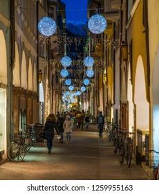Christmas time in Bolzano in Via dei Portici. Trentino Alto Adige, Italy. December-10-2018