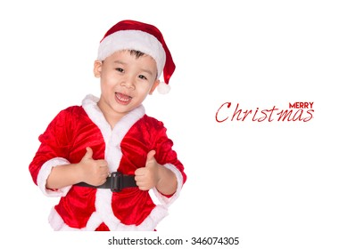 Christmas time - boy showing OK sign. Boy wearing Santa Claus hat isolated on white background