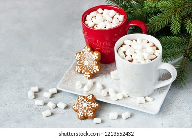 Christmas time composition with cookies and hot chocolate . Background with copy space for text