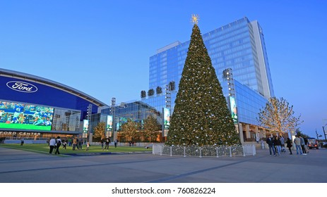 CHRISTMAS TIME AT DALLAS COWBOYS HEADQUARTER FRISCO NOV 2017: The Star is the headquarters of the Dallas Cowboys in Frisco, Texas and offers a look inside the entire operation of the Dallas Cowboys.