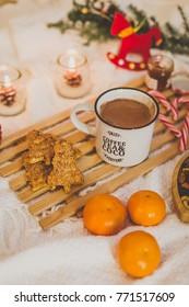 Christmas time decor, hot chocolate and cookies