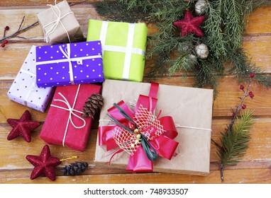Christmas Time. Christmas gifts and Christmas decoration