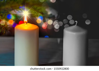 Christmas time. Merry home mood against the sad loneliness of elderly abandoned people during Christmas time. Joy and sadness, community and loneliness concept. Xmas illuminated background.