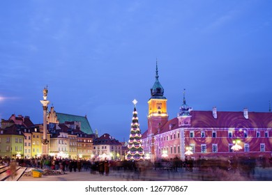 Christmas Time at the Old Town of Warsaw in Poland, illuminated at evening.
