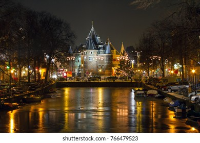 Christmas time on the Nieuwmarkt in Amsterdam at night in the Netherlands