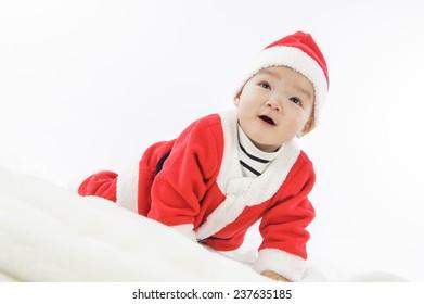 Christmas toddler in Santa hat