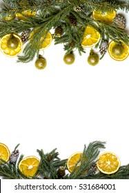 Christmas Top And Bottom Border Frame Of Fir Tree Branch Golden Pine Cones Balls