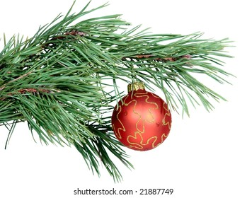 christmas toy hanging on a fir