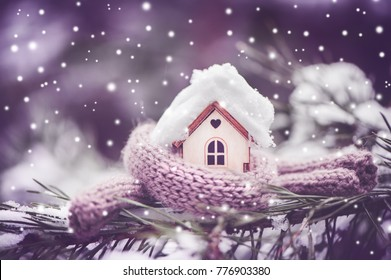 Christmas Toy house is wrapped in a warm scarf, it's snowing.on a natural natural background of a real fir in the snow, toned. Concept of winter, Christmas, new year,  warm, cozy, loving, protecting