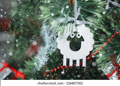 Christmas toy - a lamb - a symbol of new year 2015,  merry christmas