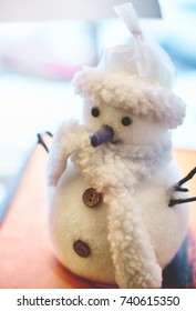 Christmas toy little snowman. Traditional Christmass decoration