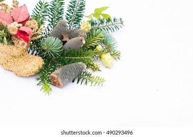 Christmas toy, pine branches with cones on a white background