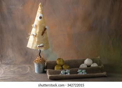 Christmas toys on textile background