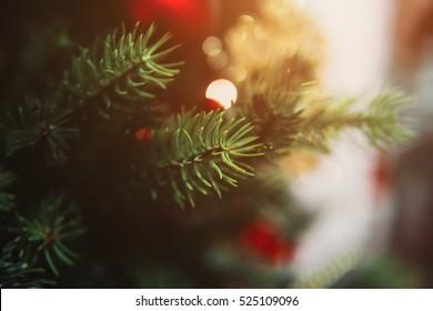 Christmas toys on the Christmas tree with a close angle