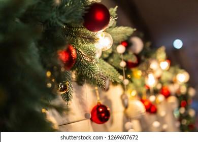 Christmas toys on the Xmas tree Close up
