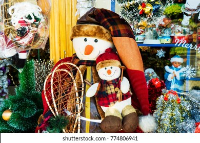 Christmas toys ,snowman, Christmas holiday miracle a cheerful mood beautiful fairy magical background