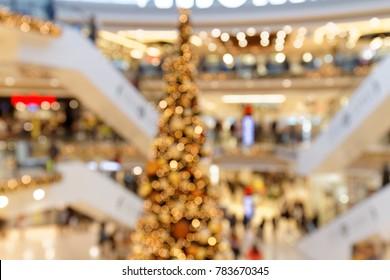 Christmas Trade in multi-level Shopping Centre bokeh background