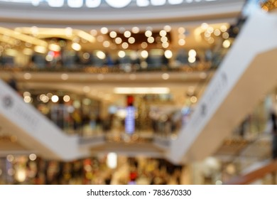 Christmas Trade in three-storied Shopping Centre blurred background