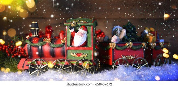 christmas train with decoration and lighting