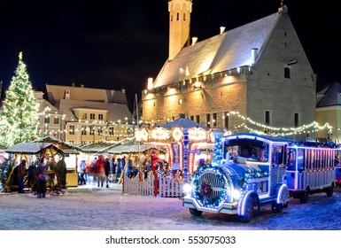 Christmas train near christmas market in old city of  Tallinn, Estonia
