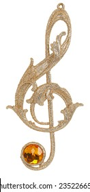 Christmas treble clef toy isolated on white background