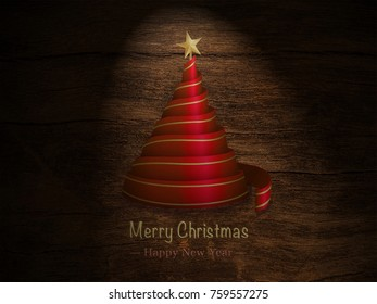 Christmas tree with amazing light in wood background