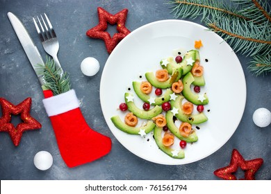 Christmas tree appetizer avocado salmon salad tartare ceviche, festive christmas dinner food
