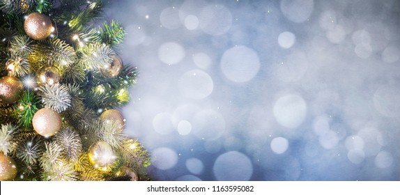 Christmas tree background and Christmas decorations.