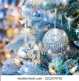 Christmas tree background and Christmas decorations
