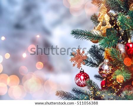 Christmas Tree Background Christmas Decorations Snow Stockfoto Nu