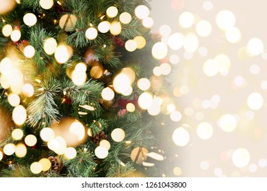 Christmas tree background. Holiday concept. Horizontal. Festive bold bokeh