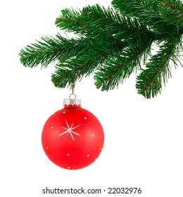 Christmas tree and ball isolated on white background