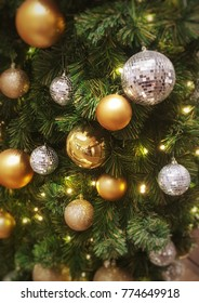 Christmas tree with beautiful ans shiny ball ornaments