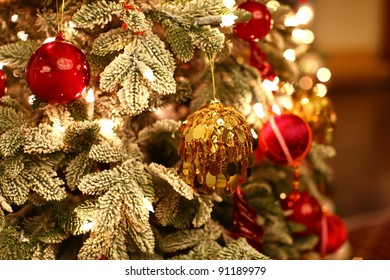 Christmas tree with beautiful and colorful ornaments