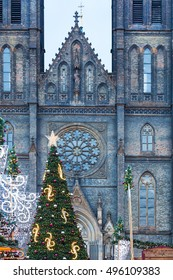 Christmas tree before the Basilica at christmastime in Prague, Czech Republic